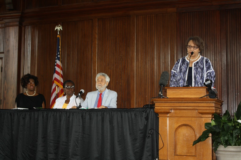 Tougaloo College President Beverly Hogan shares details about the new Institute for the Study of Modern Day Slavery at the college. Other panelists were Tougaloo faculty Daphne Chamberlain (from left), Johnnie M. Maberry and Stephen Rozman. PHOTO BY SHANDERIA K. POSEY