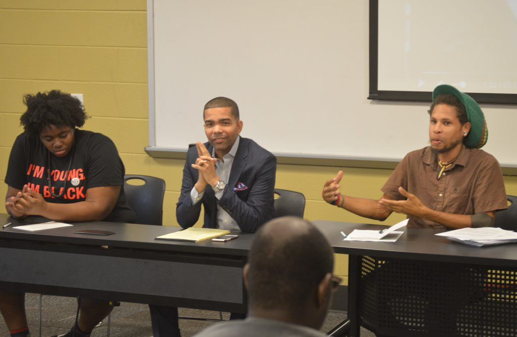 Natalie Offiah, Chokwe Antar Lumumba and Brandon King speak at the first event in a six-part series on voting importance at Tougaloo College Sept. 15. PHOTO BY D'MARKUS BURRELL, TOUGALOO COLLEGE