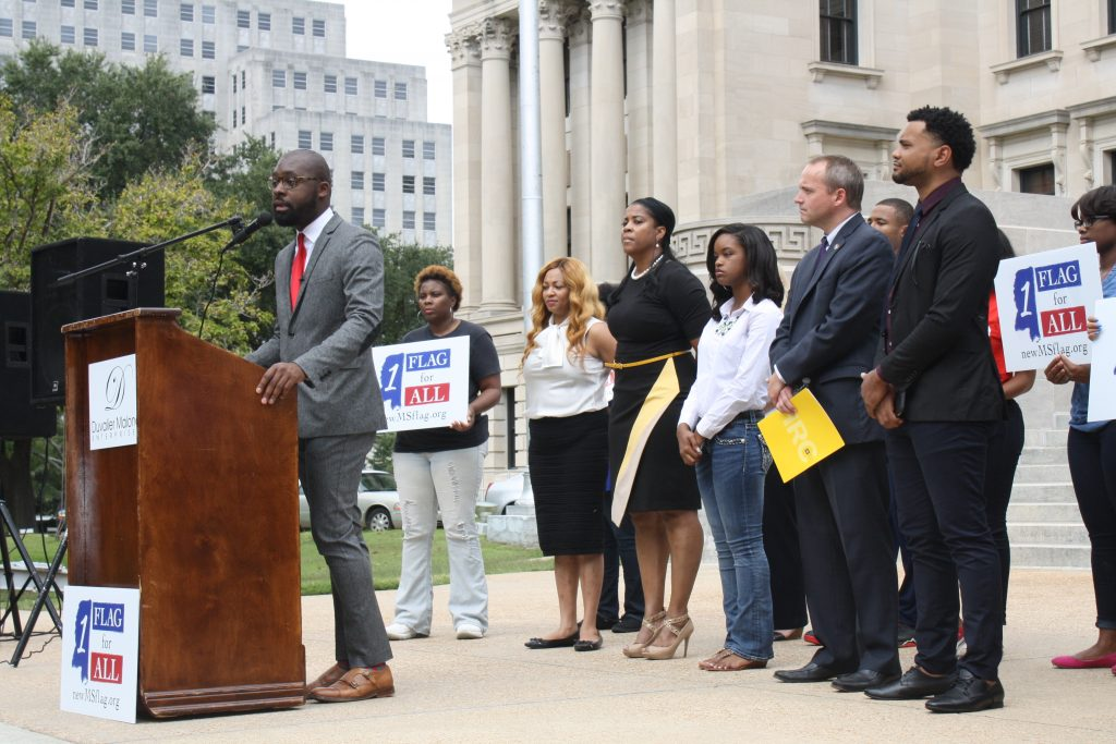 Duvalier Malone begins a press conference asking for Gov. Phil Bryant to apologize for not removing the Confederate emblem from the state flag. PHOTO BY SHANDERIA K. POSEY