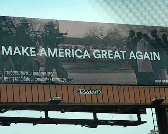 For Freedoms billboard in Pearl