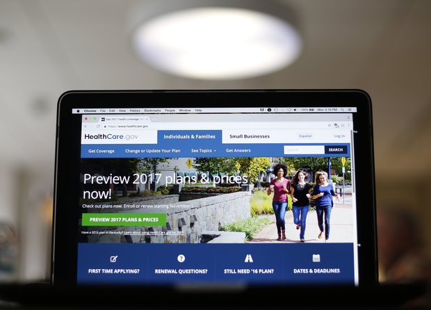 In this Oct. 24, 2016 file photo, the HealthCare.gov 2017 website home page is seen in Washington. On its very first day, the new Congress plans to take initial steps toward repealing President Barack Obama's health care law. (AP Photo/Pablo Martinez Monsivais, File)