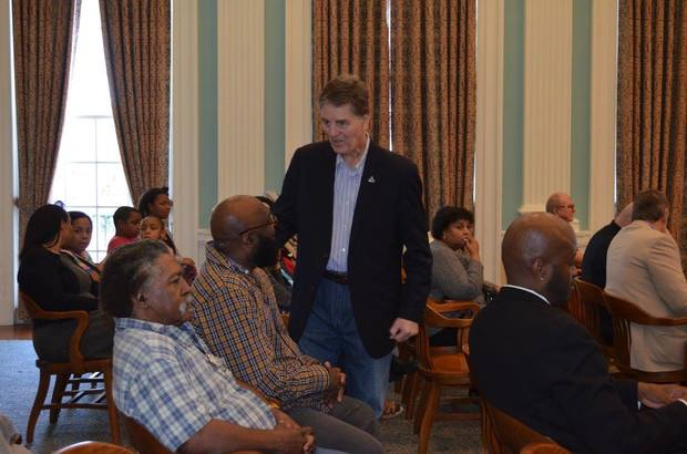 """Biloxi Mayor Andrew """"FoFo"""" Gilich speaks with residents prior to the start of Monday's special call meeting of the Biloxi City Council. (City of Biloxi)"""