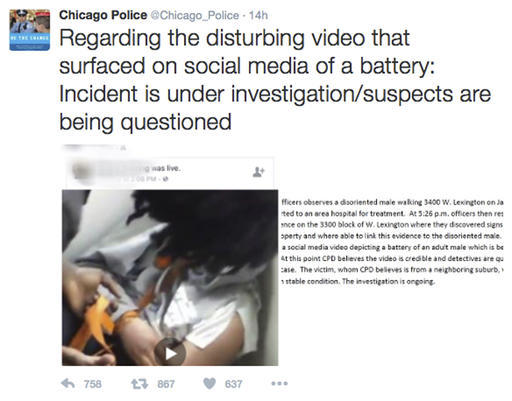 """This image posted on the Chicago Police Department's Twitter page shows a frame from a video that was broadcast live on Facebook in which a man is assaulted. The video shows the man with his mouth taped shut as a woman and other people cut off his shirt and hair with a knife, and someone pushes his head with his or her foot. Chicago Police Superintendent Eddie Johnson said Wednesday that the victim has mental health challenges, and he called the video """"sickening."""" (Chicago Police Department)"""