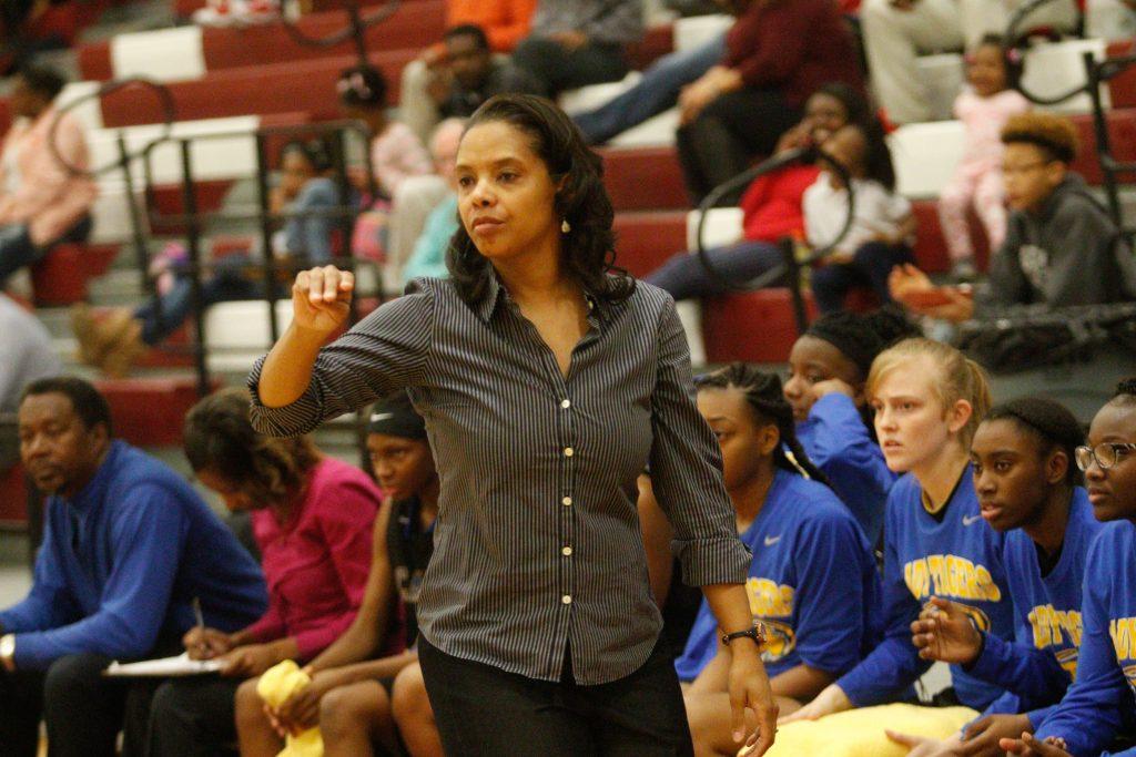 Canton coach Melissa Word instructs team.