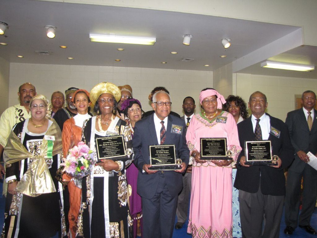 Surrounded by New Hope Baptist Church Black History Planning Committee, living legends honored: Barnie A. Robinson McGee; Hollis Watkins; Alice M. Scott; and Robert Smith, MD. Photos by Janice K. Neal-Vincent
