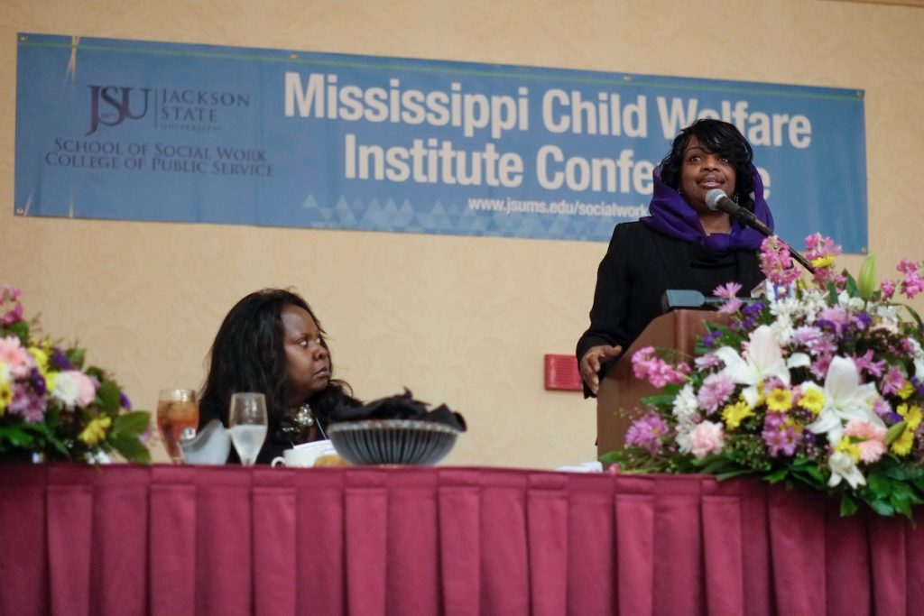 Mildred Muhammad gives a riveting account of surviving death threats and abuse by her former husband, John Muhammad – notoriously referred to as the 2002 Beltway sniper. Mildred was the keynote speaker for the 15thAannual Mississippi Child Welfare Institute Conference Feb. 8. Photo by Charles A. Smith/JSU