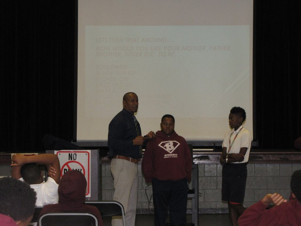 Juan Cloy, Mississippi project director/Fight Crime: Invest in Kids tells 6th graders to stand up against bullying.