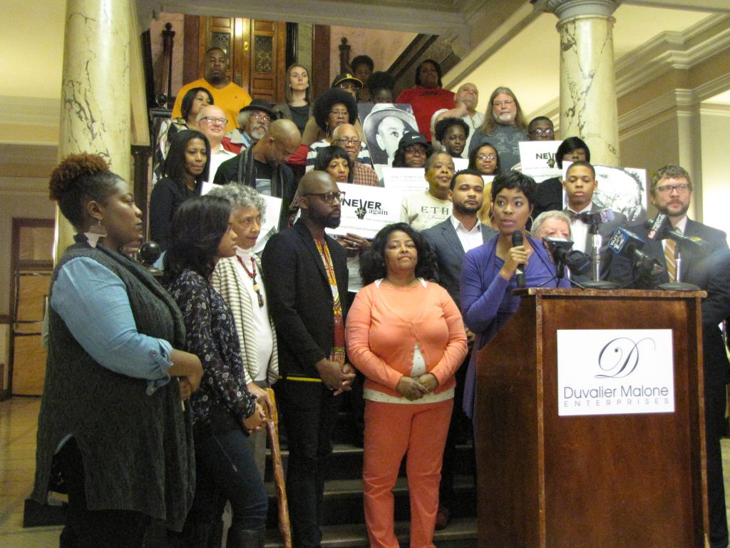 Kimberly Morgan-Myles at podium and supporters of the Till Rally for Justice at State Capitol Feb. 27. PHOTOS BY JANICE K. NEAL-VINCENT