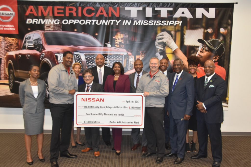 Presidents and other leaders of Mississippi HBCUs receive $250,000 donation from NISSAN officials in Canton. photos by kevin bradley
