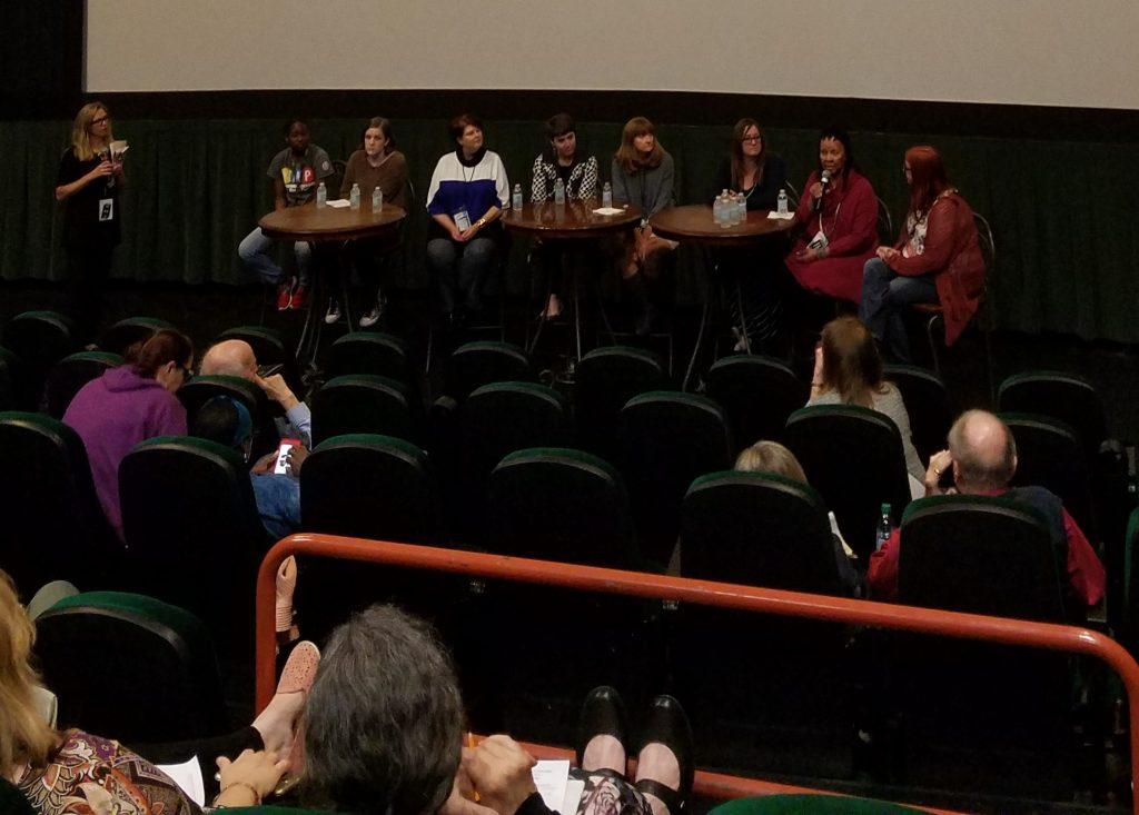 Standing - Margaret McMullan, moderator; l-r Kelsey Ford; Maggie Jeffries; Victoria Greene; Megan Morrison; Ellen Ann Fentress; Kelly Buckholdt; Wilma Mosley Clopton, Ph.D; Melanie Addington. PHOTOS BY JANICE K. NEAL-VINCENT