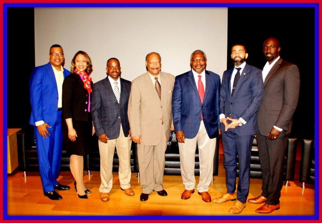 Top five mayoral candidates (starting 3rd from the left) Ronnie Crudup Jr., Robert Graham, John Horhn, Choke A. Lumumba and incumbent Mayor Tony Yarber                                                                                                                                                                  Photo by Jay Johnson
