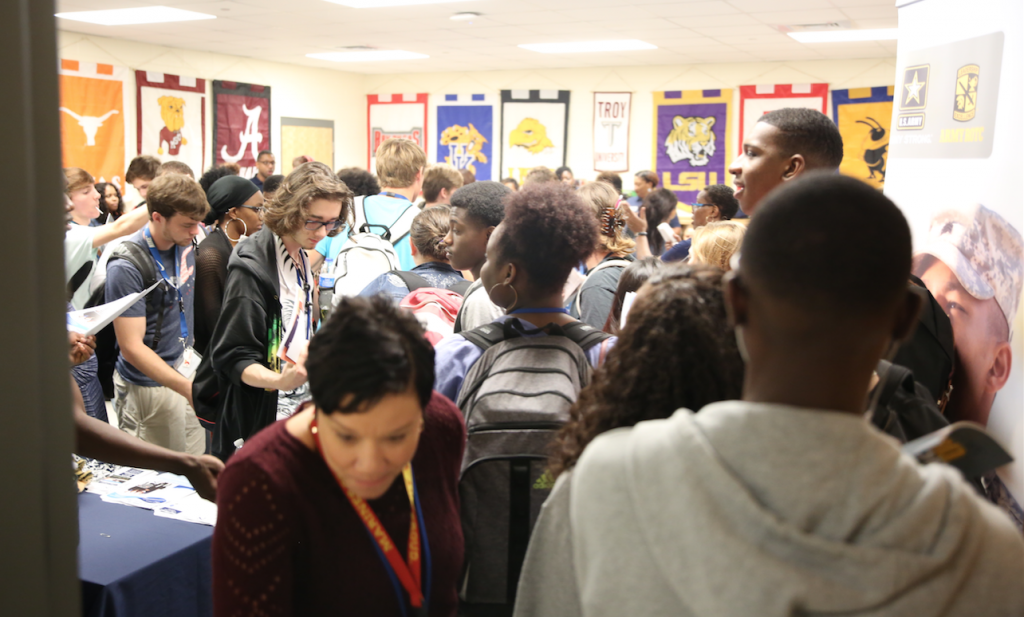 OSHS students crowd into a career center to meet with representatives from various departments from JSU to learn more about the HBCU. (Photo by Spencer L. McClenty/JSU)