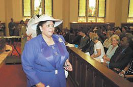Linda Brown in 2004 during a 50th-anniversary commemoration of Brown v. Board of Education in Topeka, Kan.