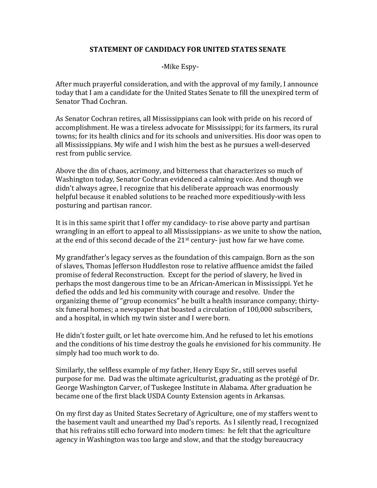 MIKE ESPY STATEMENT OF CANDIDACY FOR UNITED STATES SENATE -page-001