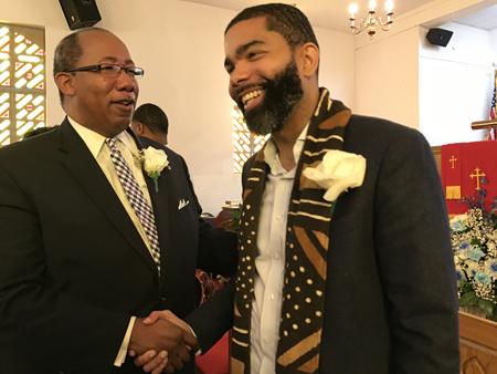 Pastor Michael T. Williams and Mayor Chokwe Antar Lumumba at Men's Day service PHOTO BY JACKIE H. HAMPTON