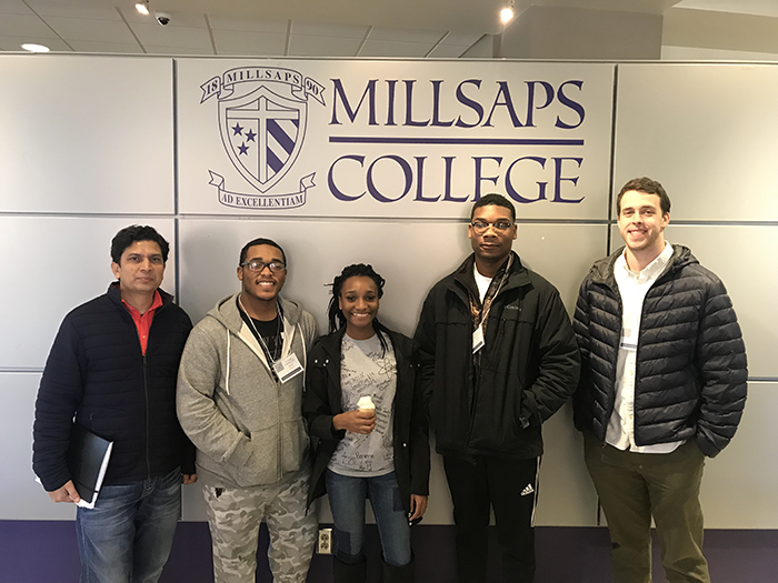 (l to r) HCCHS physics instructor Ravi Dutt, students Isaac Randle, Tawanna Jefferson, Steven Burns and GTP physics tutor Brian Dolan