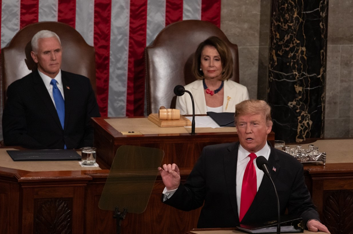 President Donald Trump gives State of the Union as Vice President Mike Pence and House Speaker Nancy Pelosi watch. PHOTOs by Cheriss May/Trice Edney News Wire