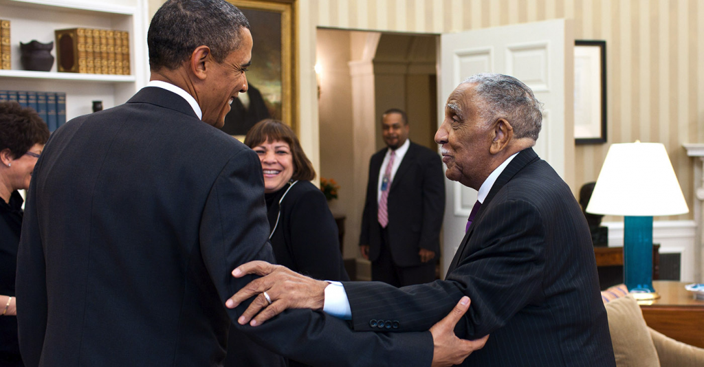 President Barack Obama meets with civil rights movement leader Rev. Dr. Joseph Lowery and his family in the Oval Office, Jan. 18, 2011. Official White House Photo by Pete Souza / Wikimedia Commons