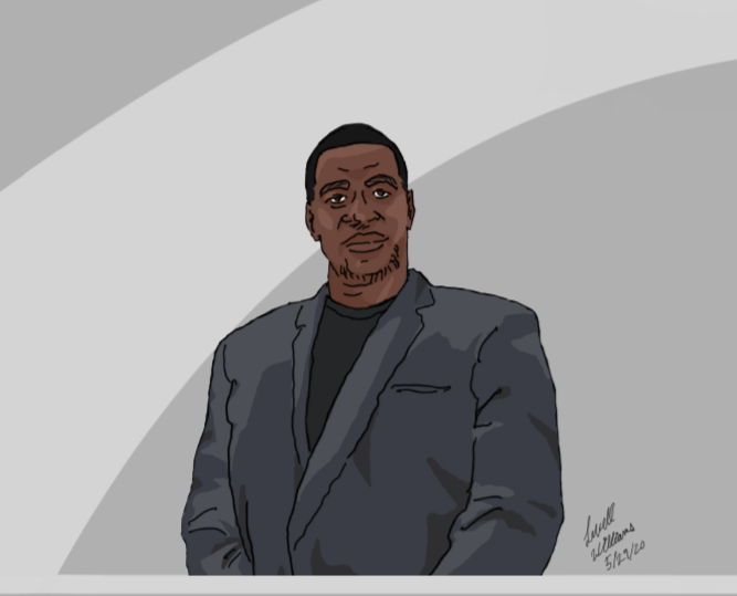 An artist depiction of George Floyd. (Image Credit: Levell Williams)