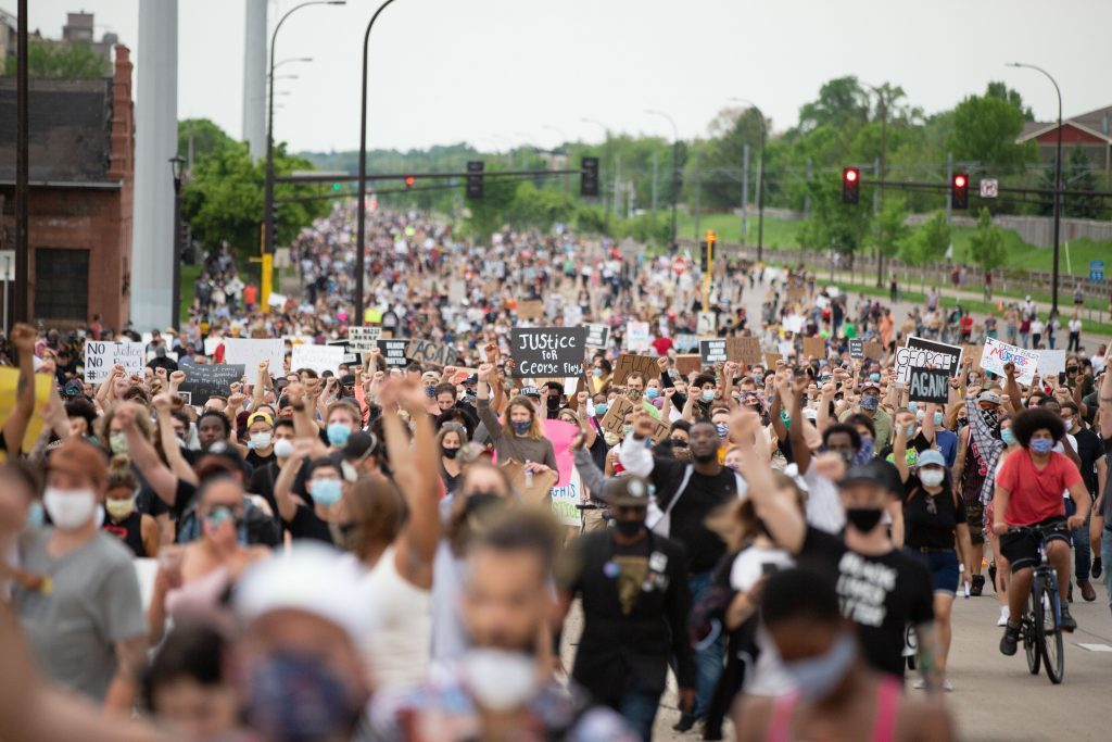 Thousands of protesters march down Hiawatha Ave in Minneapolis to protest the police killing of George Floyd by the Minneapolis police on May 26, 2020. (Chris Juhn/Zenger)