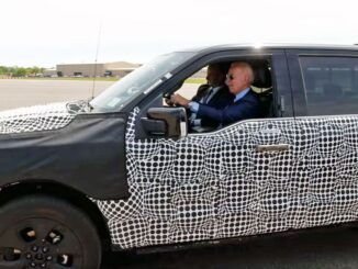 President Joe Biden test drives the Ford F-150 Lightning all-electric pick up at the automaker's Rouge Electric Vehicle Center in Dearborn, Mich., on May 18, 2021. (The White House)