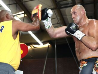 """Trainer Javan """"Sugar"""" Hill-Steward (left) wants WBC heavyweight champion Tyson Fury (right) to go after the knockout in every round"""" on Saturday against Deontay Wilder, whom Fury dethroned by two-knockdown seventh-round TKO in February 2020. (Top Rank)"""