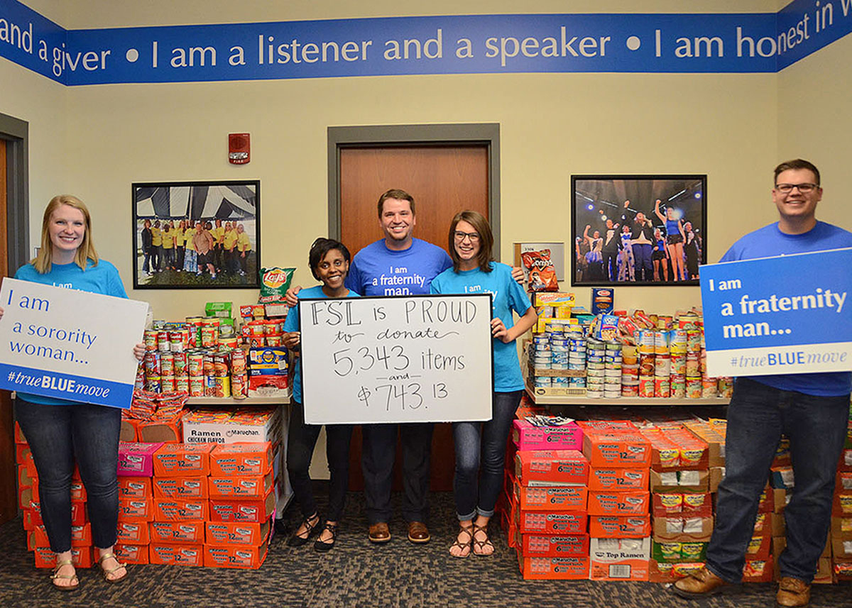 Photo of MTSU's Greeks give big boost to replenishing Student Food Pantry Students collect more than 5,300 items, raise $740 for restocking