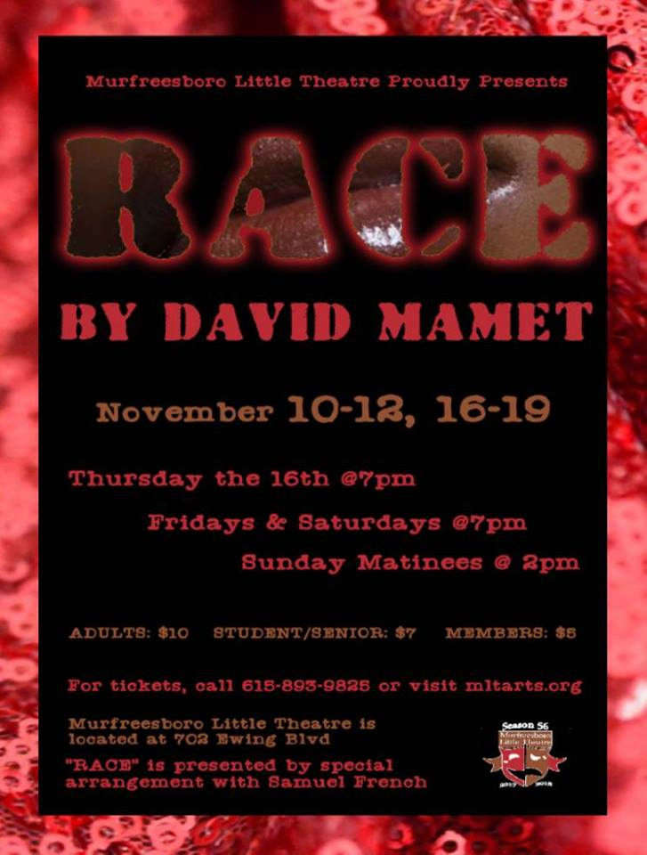 Photo of Murfreesboro Little Theatre Proudly Presents David Mamet's Emotionally Charged Drama, 'Race'.