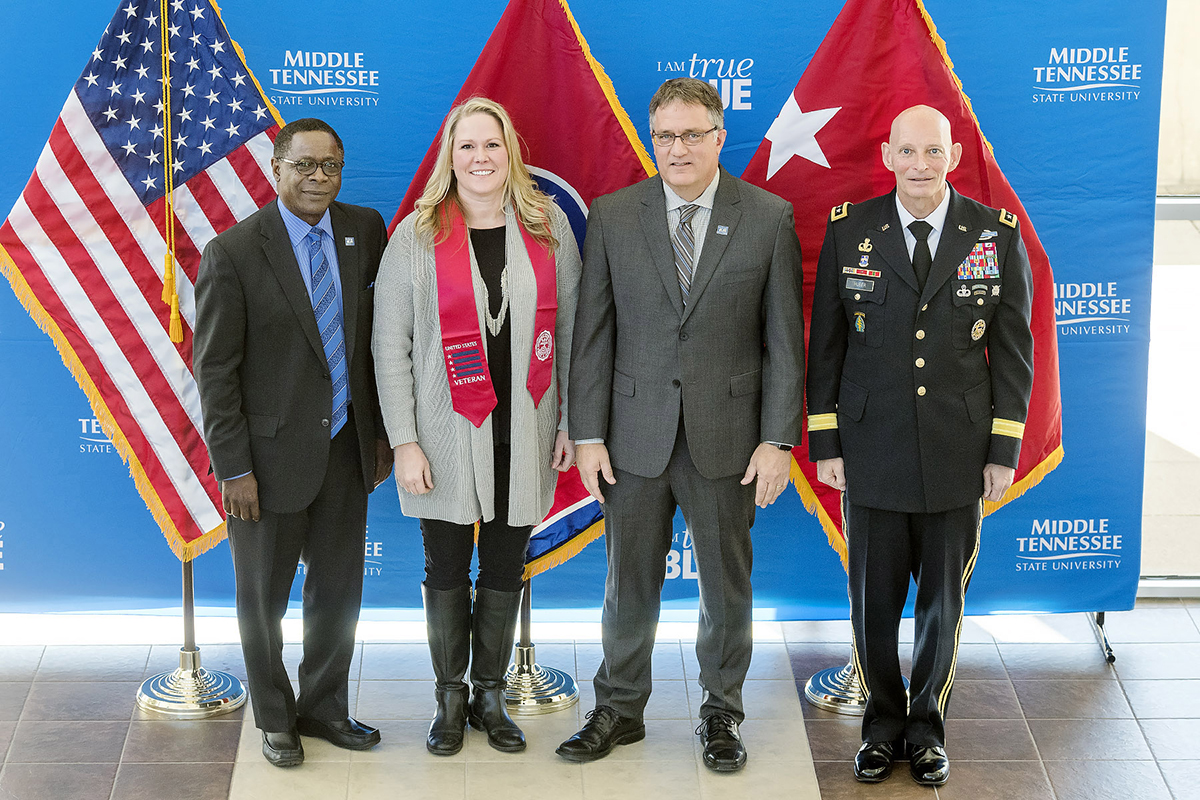 Photo of MTSU Red Stole Honors Graduating Student Veterans Heading to Career Changes