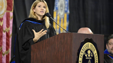 Photo of MTSU Convocation speaker to large freshman class: 'Take your passion seriously'