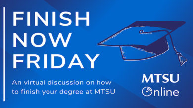 Photo of MTSU begins online 'Finish Now Fridays' Q&A to help adult learners seeking degrees