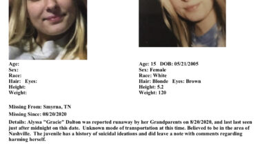Photo of Smyrna Police Department Searching for an Endangered Juvenile Runaway