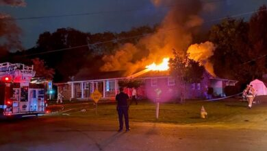 Photo of Smyrna Fire Department Personnel Contain a Fully Engulfed Structure Fire