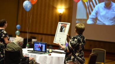 Photo of MTSU helps World War II hero celebrate 100th birthday