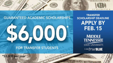 Feb. 15 MTSU Transfer Scholarship