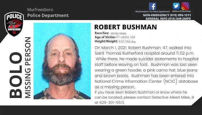 Missing Person Robert Bushman