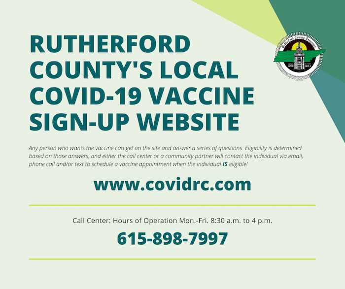 Rutherford County's local covid-19 vaccine sign-up website