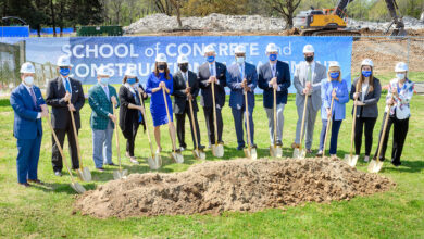 MTSU groundbreaking shoveling dirt