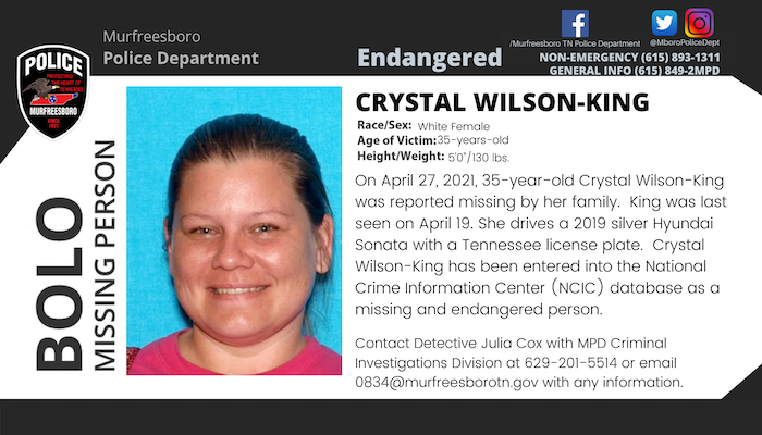 Missing Person Crystal King