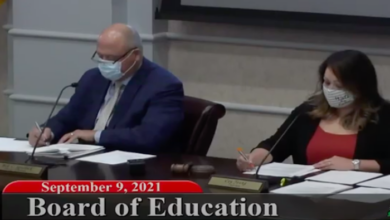 Director of Schools Bill Spurlock (L) and Tiffany Johnson (R) move on to the next item on the agenda moments after Johnson selected first woman to serve as chair of Rutherford County School Board