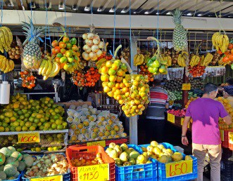 Colorful fruit stand in Costa Rica
