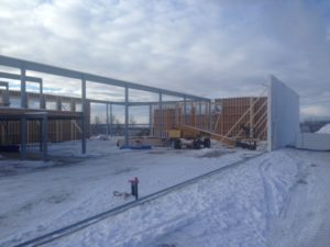 Polycore Wall systems in a cold weather installation for commercial retail strip mall