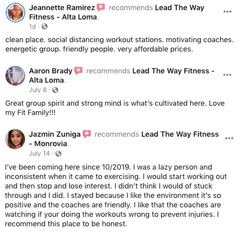 Lead the Way Fitness - Testimonials