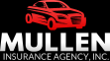 Mullen Insurance Agency logo with red car and black background