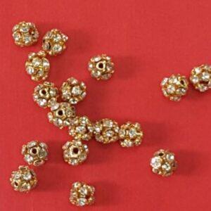 6mm gold rhine stone ball each 5 rs