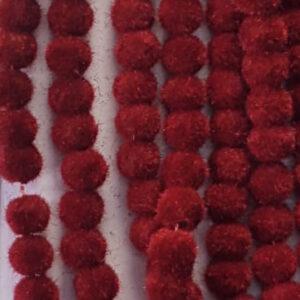 Maroon colour velvet beads 6 mm