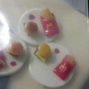 Clay food rakhi base Mc Donalds burger french fries