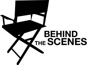 Behind the scenes, director chair