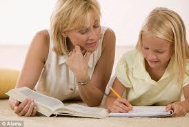 Home school, home schooling, mother and daughter, mother teaching daughter