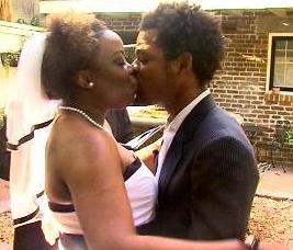 Wedding kiss, African American wedding, Joyce Brewer wedding